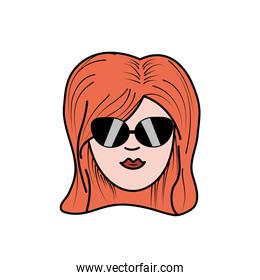 cute woman face with hairstyle and sunglasses