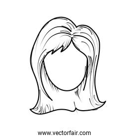 line cute woman face with hairstyle
