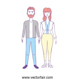 nice couple with hairstyle and elegant wear