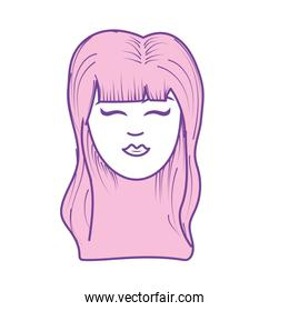 cute woman face with hairstyle