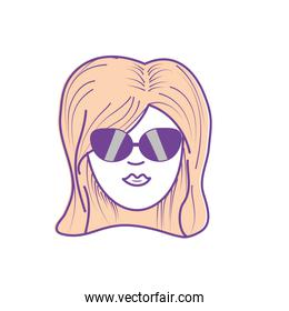 pretty woman face with hairstyle and sunglasses