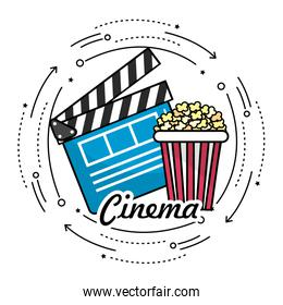 clapperboard with popcorn to cinematography film