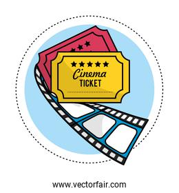 tickets with filmstrip to short film scene