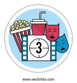 film countdown number 3 with popcorn and genres
