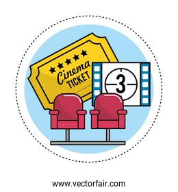 cinema seats with tickets and film countdown