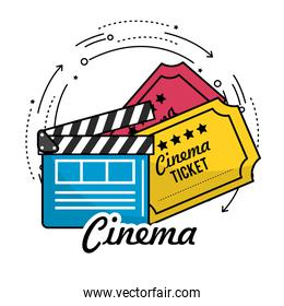 clapperboard with cinema tickets scene