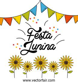 festa junina with flags party design and sunflowers