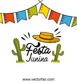 festa junina with party flags, cactuses and hat