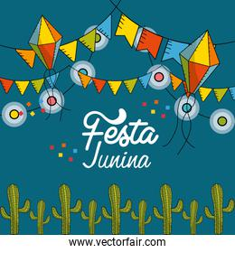 festa junina with flags party and chain bulbs with kites