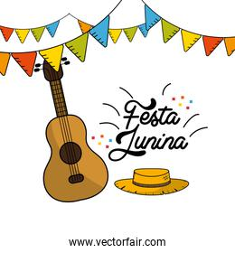 festa junina with guitar and hat with flags party