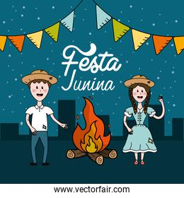 festa junina with brazilian people and wood fire