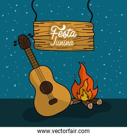 festa junina with wood fire and guitar