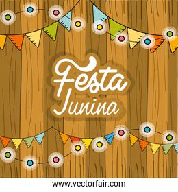 festa junina with chain bulbs and wood background