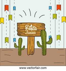 festa junina with party flags and cactuses
