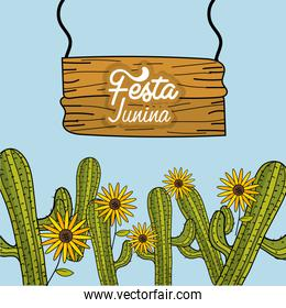 festa junina with cactuses and sunflowers
