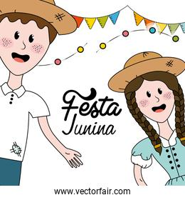 brazilian people celebrating festa junina with flags party