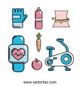 healthy lifestyle tools icons to practice exercise