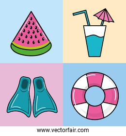 set watermelon slice with refreshment and float with fin