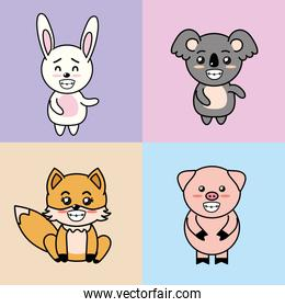 set cute and tender animals with expressions