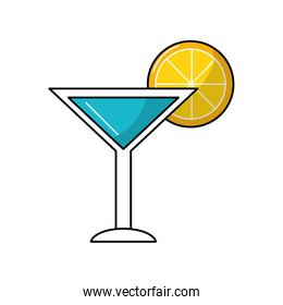 delicious cocktail with slice of lemon to refresh