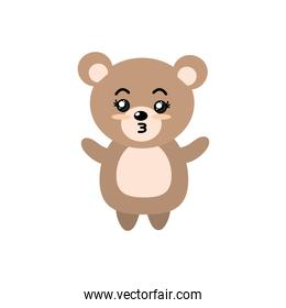 cute bear wild animal with face expression