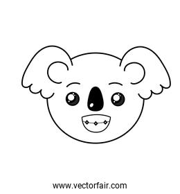 line cute wild animal face with expression