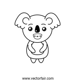 line cute koala wild animal with face expression