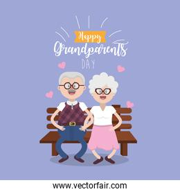 happy grandparents day, parents seated in the chair with glasses and hairstyle