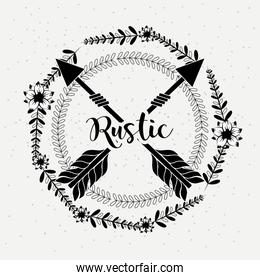 rustic lettering and  branches around of arrows