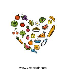 fruits and vegetables with protein food