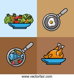 set nutrition vegetables and fruits with proteins