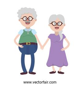 old couple with hairstyle and glasses