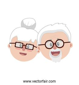 old couple face with hairstyle
