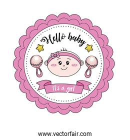 baby shower emblem to welcome a girl with decoration
