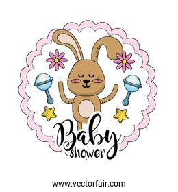 baby shower emblem to welcome a child
