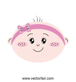 cute baby girl face with ribbon bow in the head