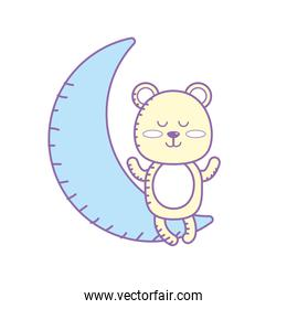 teddy bear seated in the moon character
