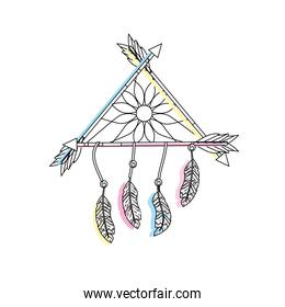 beauty dream catcher with feathers and arrows design