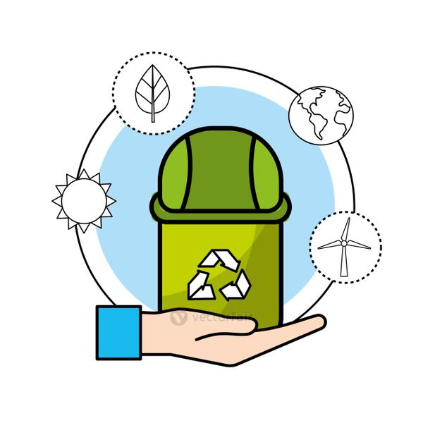 can trash with environment care icon