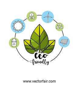 ecological leaves with environment care icons