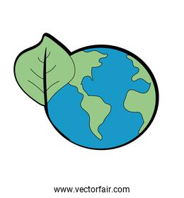 global earth planet with leaf symbol to environment care