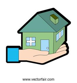 hand with house architecture design icon