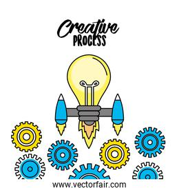 bulb with thrusters and gears to creative process