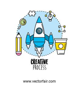 rocket with pencil and creative process icons