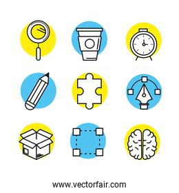 set creative process with ideas icons design