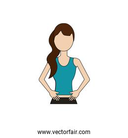 healthy woman with clothes to do exercise