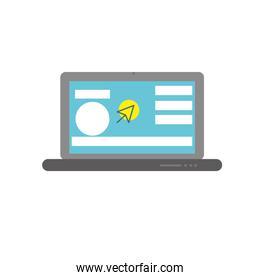 laptop with business website and arrow cursor