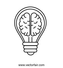 line creative bulb with brain inside over white background