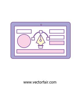 tablet with business website and arrow cursor