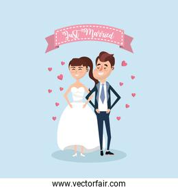 just married couple with ribbon design